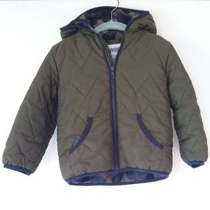 Gymboree • boys 2t olive quilted Sherpa lined coat
